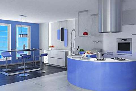 مطابخ باللون الازرق 2014 مطابخ