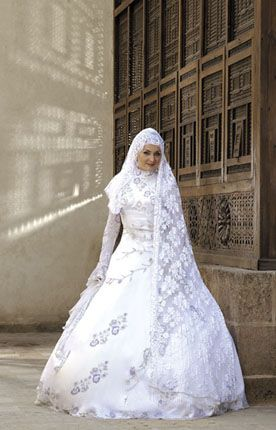 زفاف محجبات 2012 ، صور فساتين زفاف