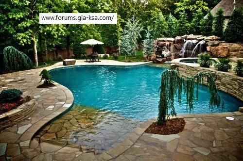 احدث ديكورات حمام السباحة 2014