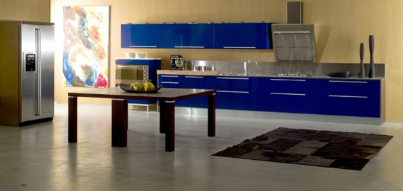 مطابخ زرقاء جديدة جديد اللون