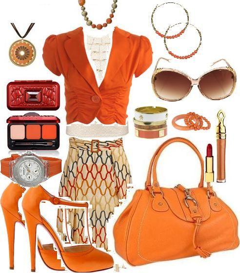 ازياء سهرة باللون البرتقالى 2014