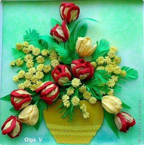 Объёмная аппликация из бумаги своими руками цветы фото 39