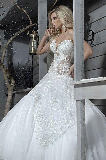 151bfbaa501ad صور فساتين زفاف جديدة 2013 ، فساتين زفاف خليجية ، ابسط فساتين زفاف للعروس  2014